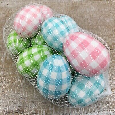 Decorated Easter Eggs (Easter Eggs Buffalo Check Plaid farmhouse decor pastel new pack of)