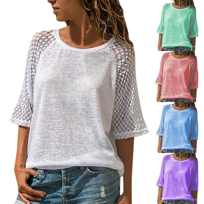 Damen Freizeit Spitze Bluse Oberteile Lässig Tunika Shirt 3/4 Arm Tops Übergröße