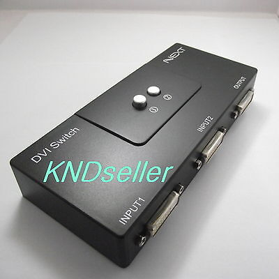 DVI 2 Port Manual Switcher Selector Switch Box Monitor single mode 1920X1080 2:1