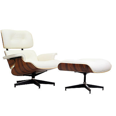 Eames Recliner Lounge Chair & Ottoman Palisander White Italian Leather on Rummage