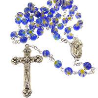 Azul Amarillo Floral Vidrio Católica Rosario Cuentas Cuero Sintético -  - ebay.es