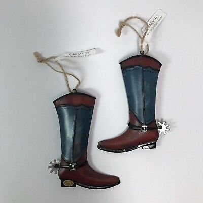 Western Christmas Ornaments Metal Cowboy Boots Set of 2 Holiday Tree  Decoration](Western Christmas Ornaments)
