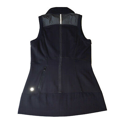 Lululemon Women's 6 Won't Stop Vest Black Grey Reflective Run Rain Hyper Stripe