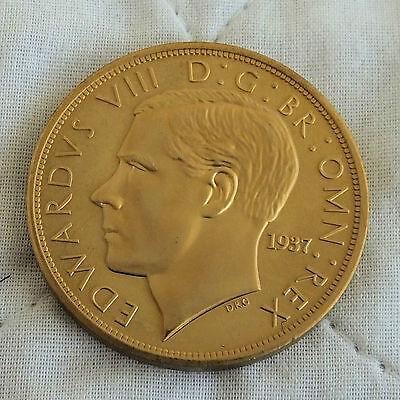 EDWARD VIII 1937 GOLDEN ALLOY PROOF PATTERN G & D CROWN PLAIN EDGE- mintage 15