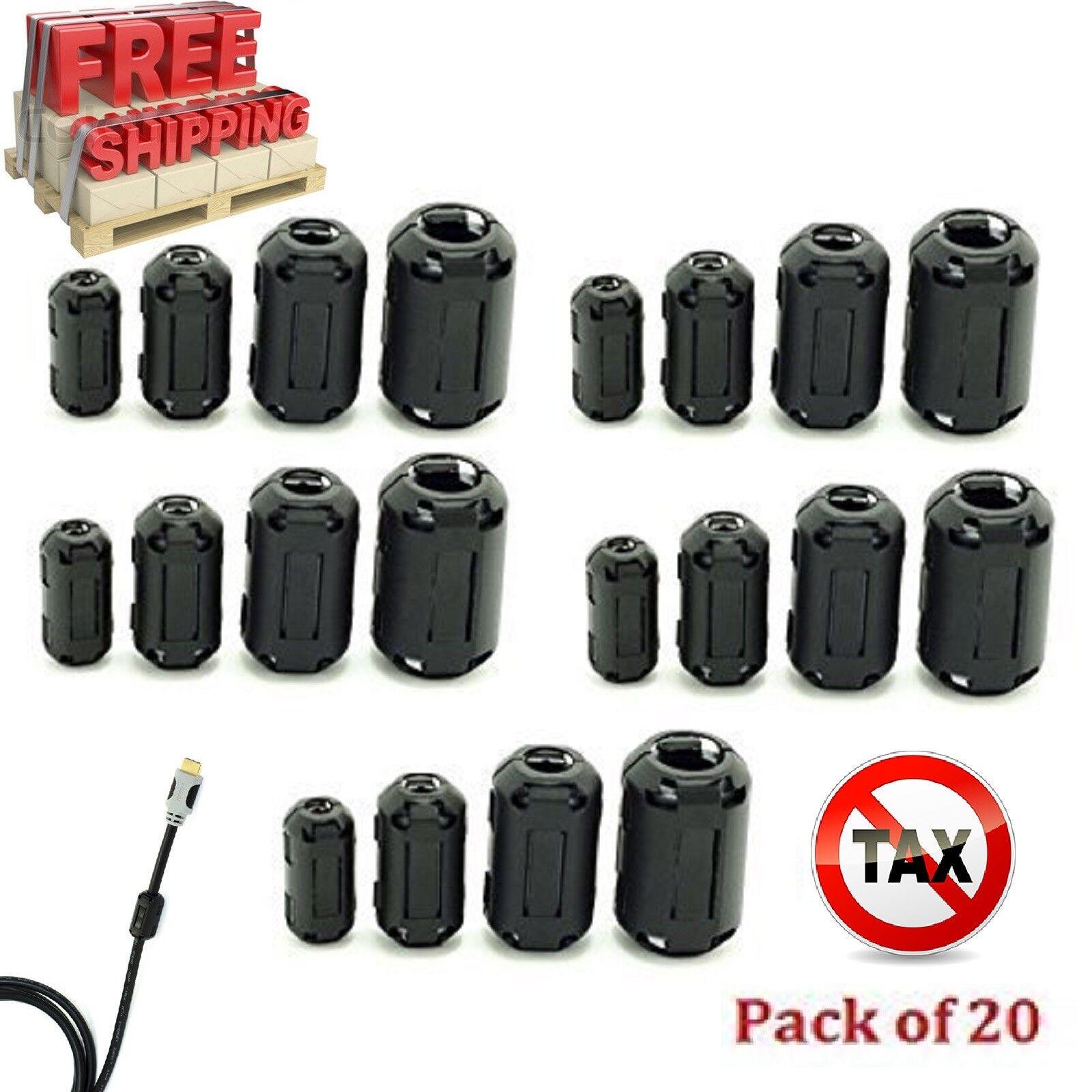 Купить 20 Ring Core Ferrite Bead Clamp Choke Coil EMI RFI Noise Filter Clip Snap Cable