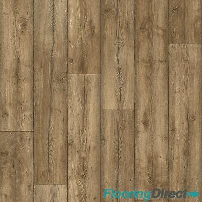 Antique Oak Wood Effect Vinyl Flooring Cheap Lino Cushion Floor