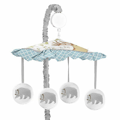 Lovely Jojo Designs Grey Bear Woodland Toile Musical Unfixed Baby Crib Bedding Set