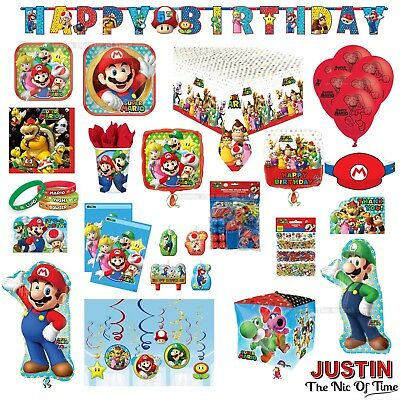 SUPER MARIO Birthday Party Tableware Plates Cups Napkins Tablecover Decorations