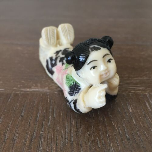 Vintage Chinese Girl Lying on Stomach Chopstick Rest Resin Figurine Miniature