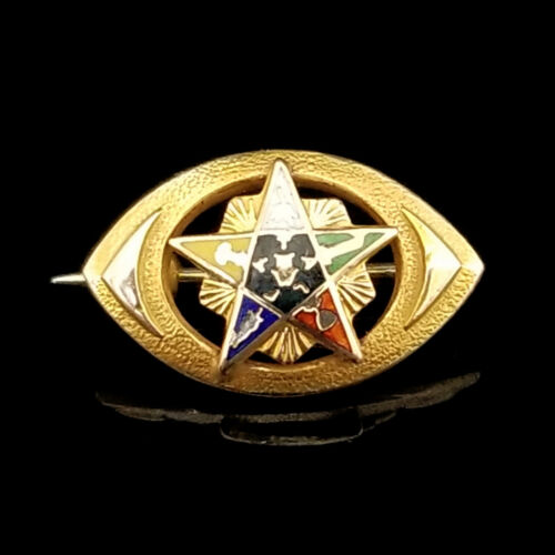 Vintage 10k Order of the Eastern Star Lapel Pin, Brooch, Yellow Gold, Eye Shaped
