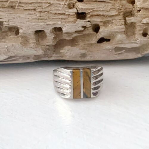 TAXCO Sterling Silver Tigers Eye Mexican Modern Mens Natural Stone Size 11 Ring