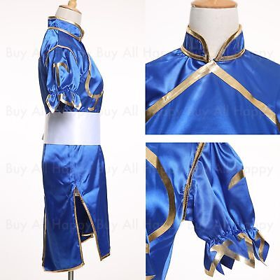 Chun Li Street Fighter Blue Dress Uniform Cosplay Costume Halloween  (Chun Li Halloween)