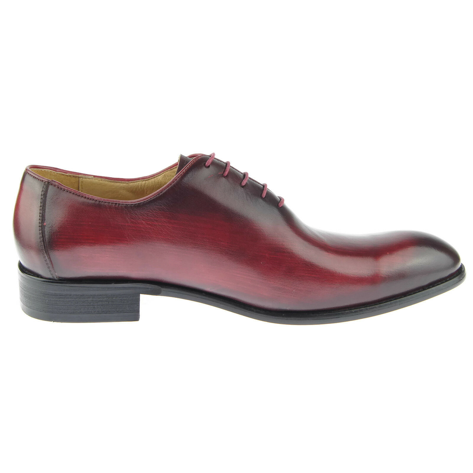 Carrucci Plain Toe Wholecut Oxford, Men's Dress Leather Shoes, Burgundy 1