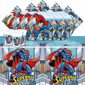 DC Comic Superman Children's Birthday Party Complete Tableware Pack For 16