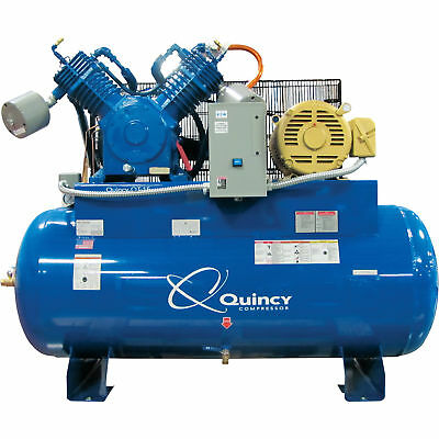 Quincy Qt-15 Splash Lube Reciprocating Compressor-15hp 208v120gal Horizontal