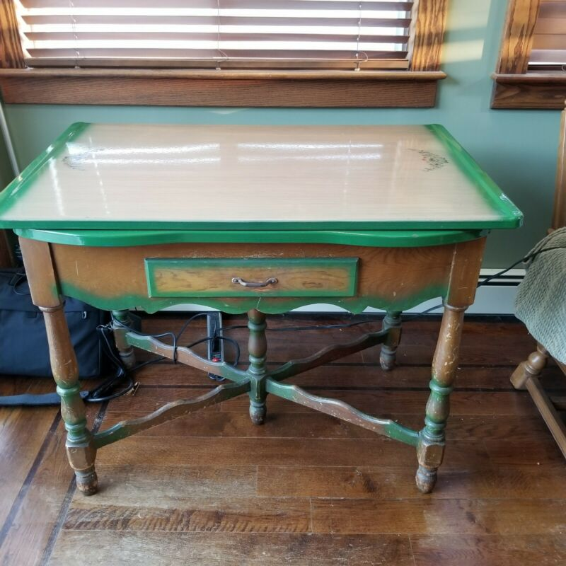 Vintage Porcelain Enamel Top Kitchen Table w/Pullout Side Leafs & Drawer