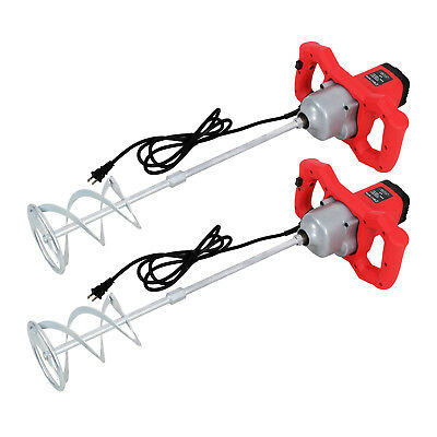 2x Handheld Electric Mortar 1600w Cement Mud Mixer High 7 Adjustable Speed