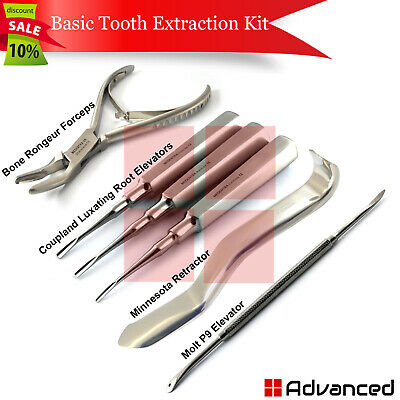 Dental Basic Tooth Extraction Kit Luxation Elevators Coupland Mouth Retractor
