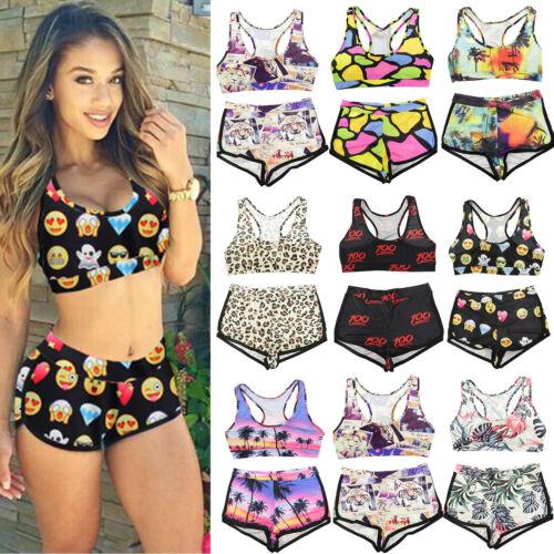 Damen Sport Bikini Set Tankini Bademode Badeanzug Strand Tops + Badeshorts 32-44