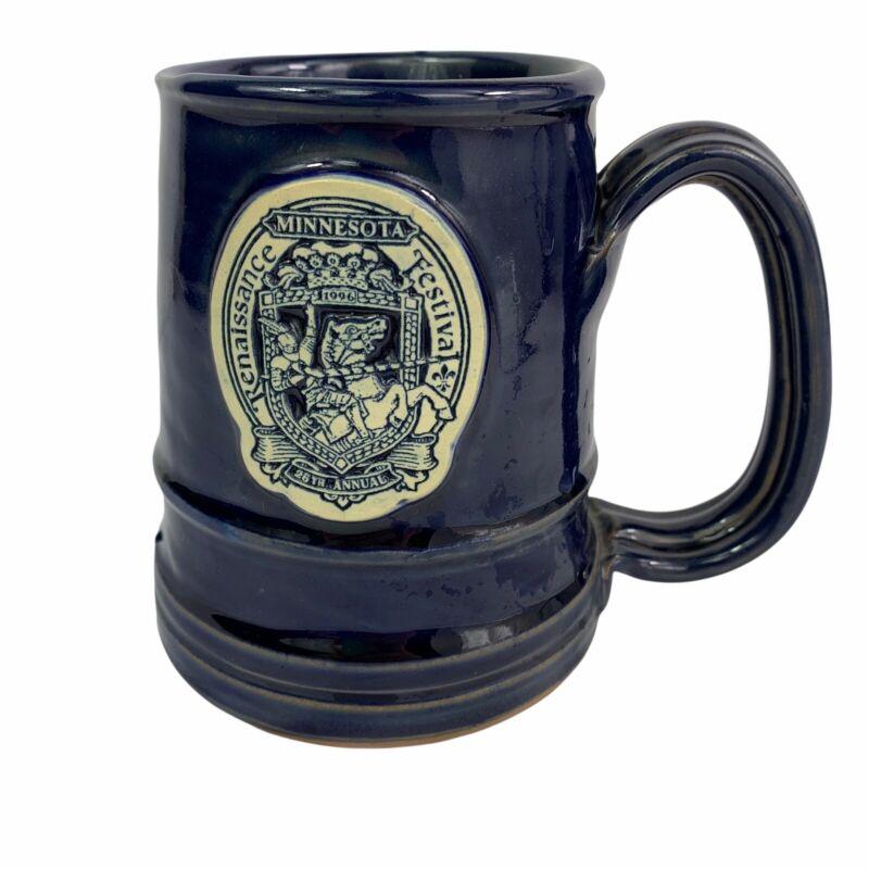 Minnesota Renaissance Festival 26th Annual 1996 Stoneware Coffee Mug 20 oz Blue