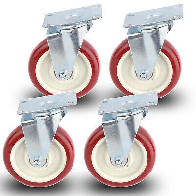 4 X 5 Inch Caster Wheels Swivel Plate Polyurethane Wheels Heavy Duty Wheels F1