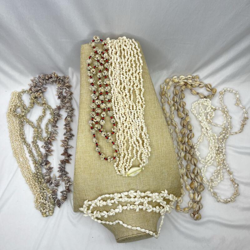Lot of 10 Vintage Shell Necklace Unique Lot Conch Cowrie Snail Seashells