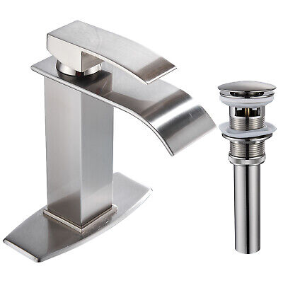 Brushed Nickel Single Lever Countertop Faucet Bathroom Vessel Tap Lavatory Sink - Nickel Lever Faucet