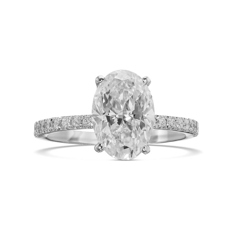 1.50 Ct Oval Cut Diamond Engagement Hidden Halo Ring F Si1 14k White Gold