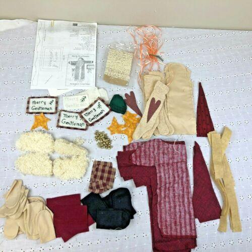 Unfinished Merry Gentleman Santa- Doll Pattern Craft Kit W/Materials; Cut Fabric