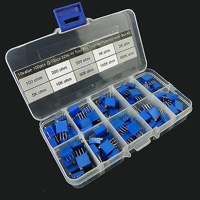 10value 100pcs 3296 Trim Pot Trimmer Potentiometer Assortment Box Kit