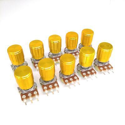 Us Stock 10 Units 200k B200k Ohm Linear Taper Rotary Potentiometer Pot Gold Knob