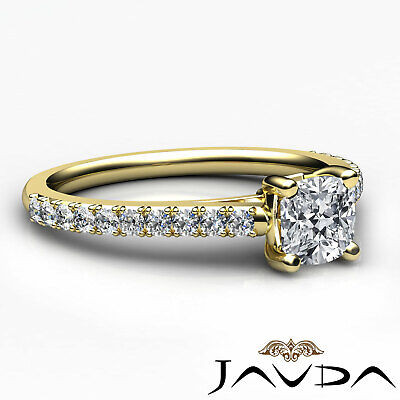 Cushion Shape French V Pave Diamond Engagement Ring GIA Certified F VVS2 1.01Ct 9