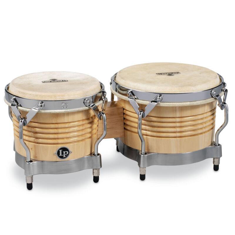Latin Percussion LP Matador Wood Bongos Natural Chrome Hardware