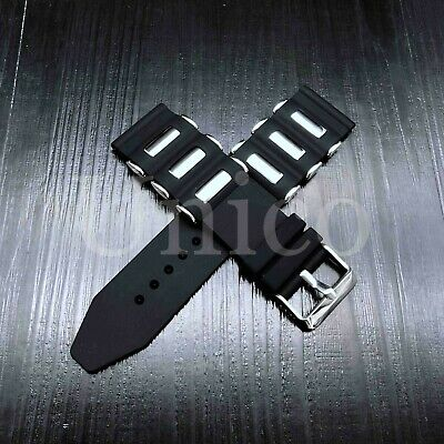 20 - 26 MM Soft Rubber Black Sport Diver Watch Band Strap Fit For INVICTA Bullet Black Band Sport Watch