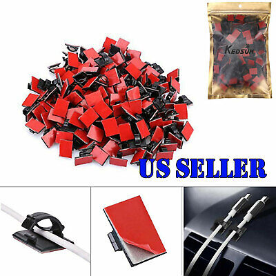 200pcs Adhesive Car Cable Tie Wire Zip Clamp Mount Clip Holder Base