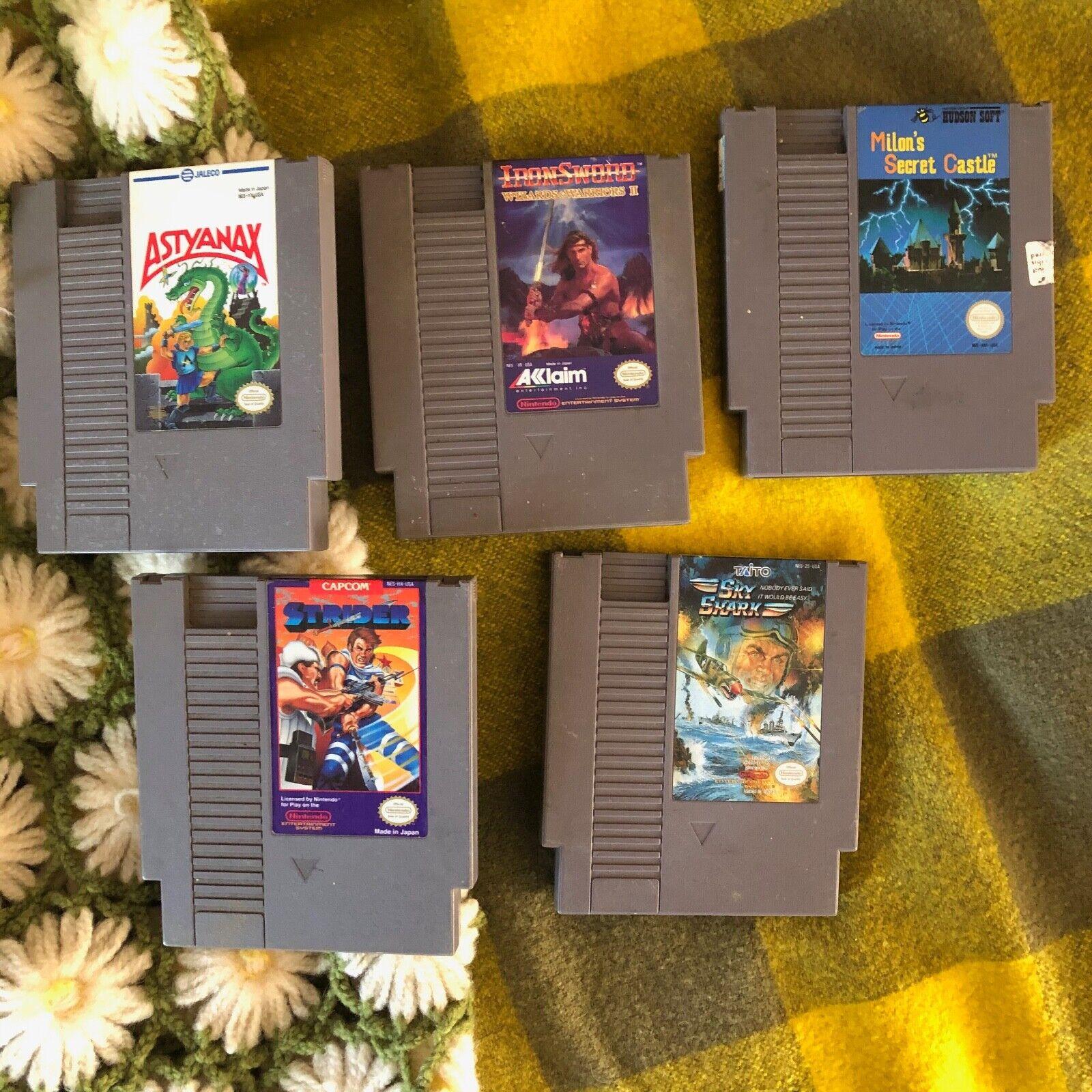 Lot Of 5 NES Games Strider Astynax Nintendo Entertainment System Iron Sword Sky - $20.00