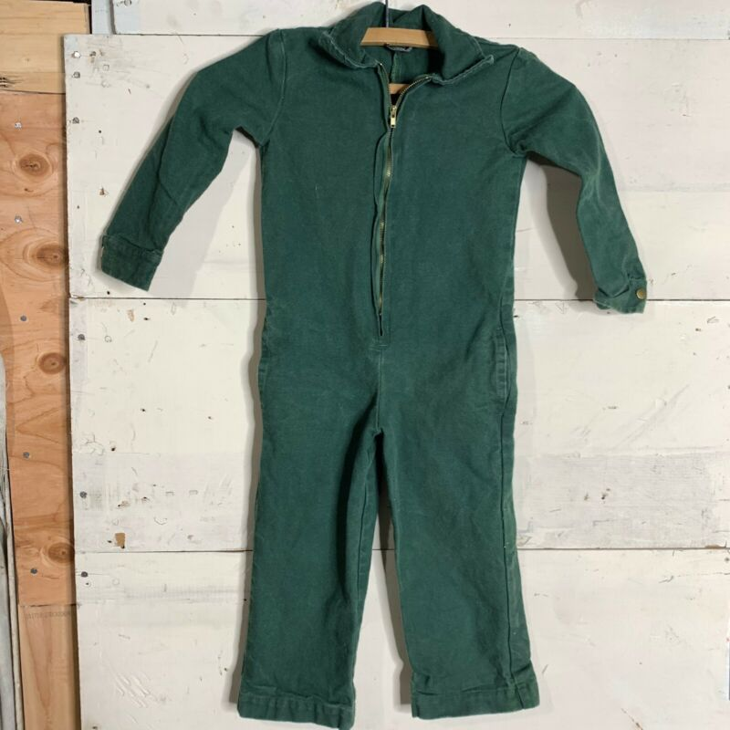 Vintage Kids Mechanic Coveralls Canvas Cotton Jumpsuit Size 4 Green