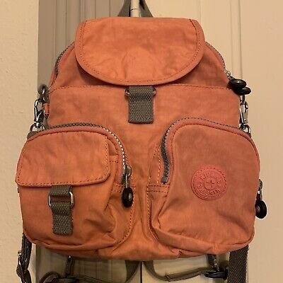 Kipling Firefly N Backpack Crossbody Convertible Purse Handbag Coral Gray