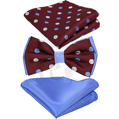 Polka Dots Design Two Tone Bow tie And Two Style Hankie Set Wedding (Design Bow Tie Set)