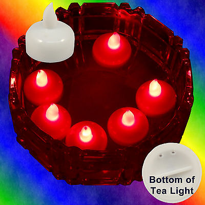 Battery Operated Tea Lights (12 Flameless Floating LED tealight Battery operated Candle Red tea lights)
