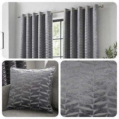 Curtina KENDAL Charcoal Jacquard Eyelet Curtains & Cushions