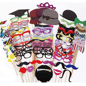 76Tlg.Hochzeit Party Foto Verkleidung Schnurrbart Brille Photo Booth Props Set