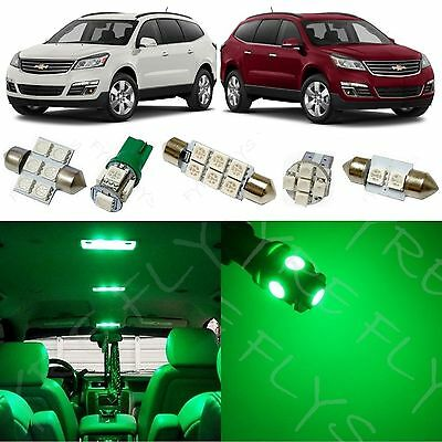 15x Green LED lights interior package kit for 2010-2013 Chevrolet Traverse CT2G