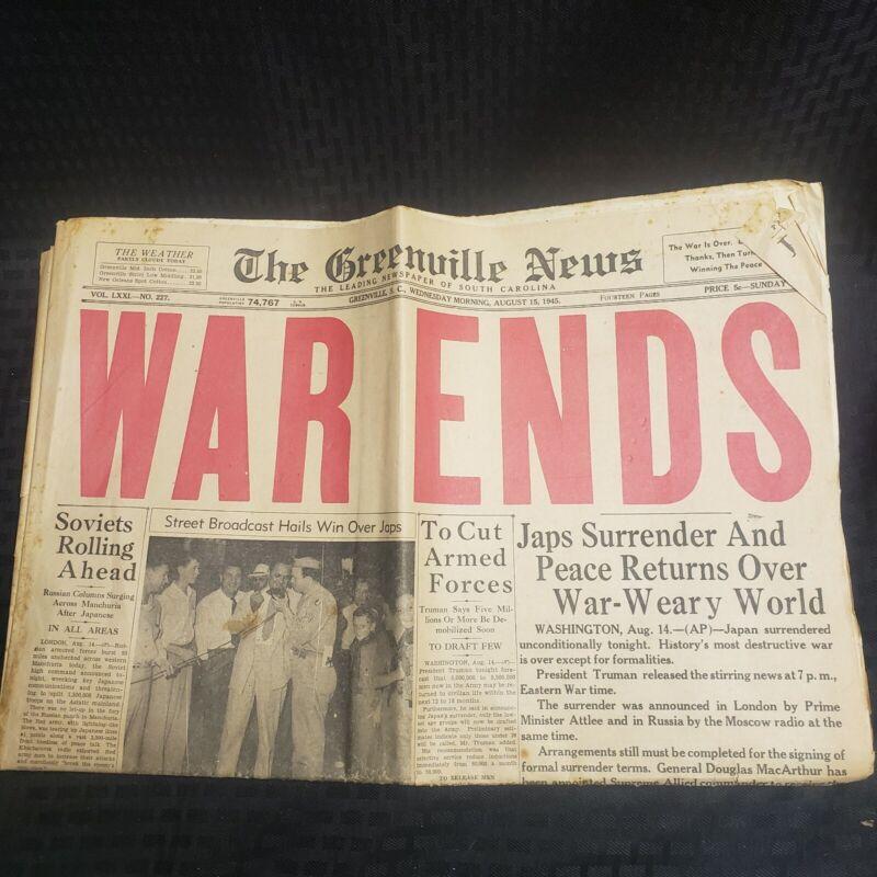 August 15 1945 WAR ENDS Newspaper The Greenville News South Carolina Paper
