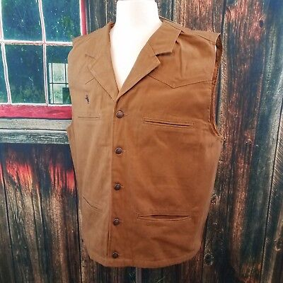 Wyoming Traders Mens Dark Tan Bronco Canvas Cowboy Western Vest XLT, 2XLT, - Vest Cowboy