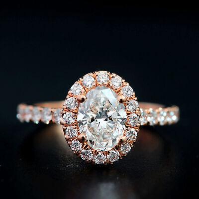 1.65 Ct. Oval Cut Halo Natural Diamond Engagement Ring Pave D, VVS1 GIA Cert 14k 7