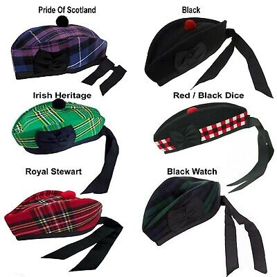 Scottish Glengarry Caps Hats Red & black Pompom to go with kilts for men