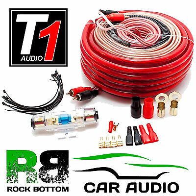 T1 AUDIO 2000 Watts 4 AWG Gauge Car Complete Amplifier Amp Wiring Cable Kit
