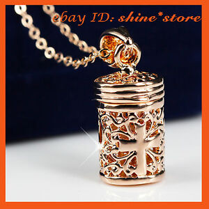 9K GOLD GF P56 FILIGREE CROSS PERFUME BOTTLE LADIES GIFT SOLID NECKLACE PENDANT