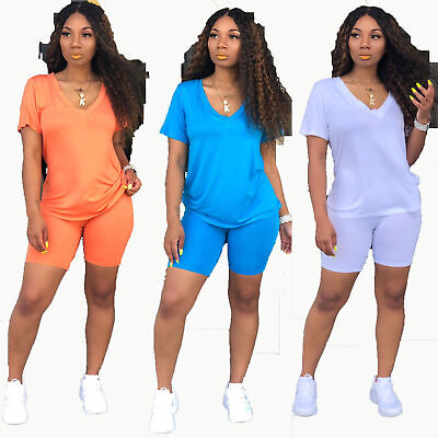Casual Style Solid Color (Women Short Sleeves Solid Color Simple Style Casual Summer Short Outfits 2pc )